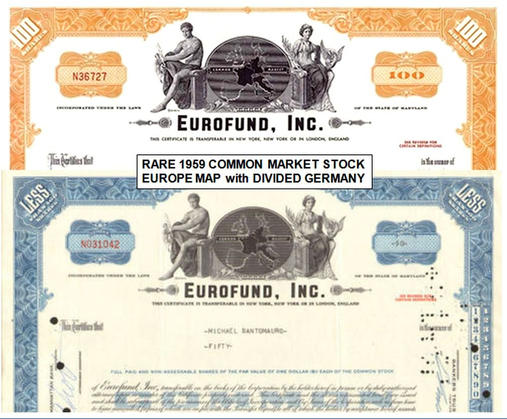 1959 Rare European Common Market Shares Certificate 30 Years Before