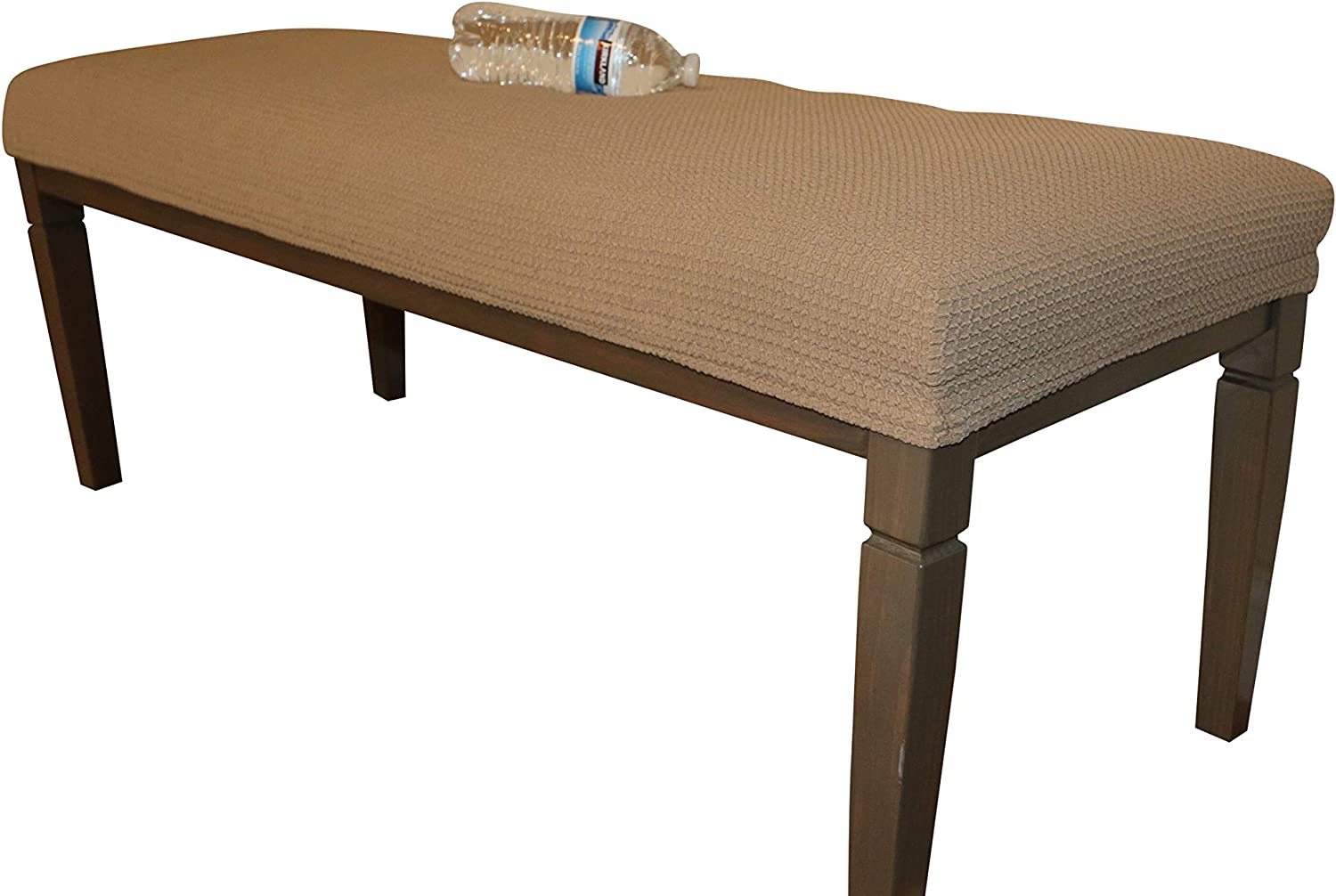 Waterproof Dining Bench Cover Protector - Perfect for Kids, Elderly, Restaurant,Clinics, Home - Machine Washable, Stretchy, Snugly Fit, Premium Quality, Clean The Mess Easily (49x17, Medium Brown)