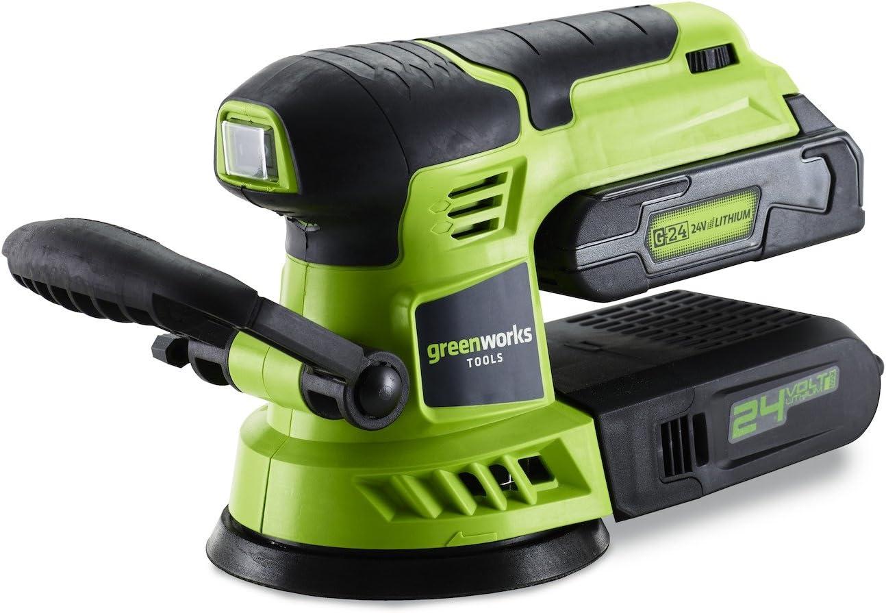 Greenworks Tools Lijadora Orbital 24V–3100107, 24V, (Sin Batería no cargador) Verde