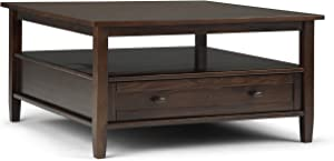 SIMPLIHOME Warm Shaker SOLID WOOD 36 inch Wide Square Rustic Coffee Table in Tobacco Brown, for the Living Room and Family Room