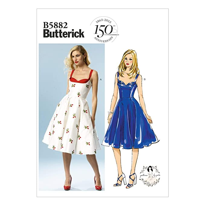 1950s Sewing Patterns | Dresses, Skirts, Tops, Mens BUTTERICK PATTERNS B5882 Misses Dress Sewing Templates Size D5 $11.97 AT vintagedancer.com