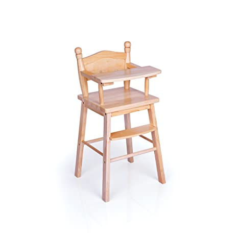 Guidecraft Naural Wooden Doll High Chair With Tray Fits 18 American Girl Dolls G98104