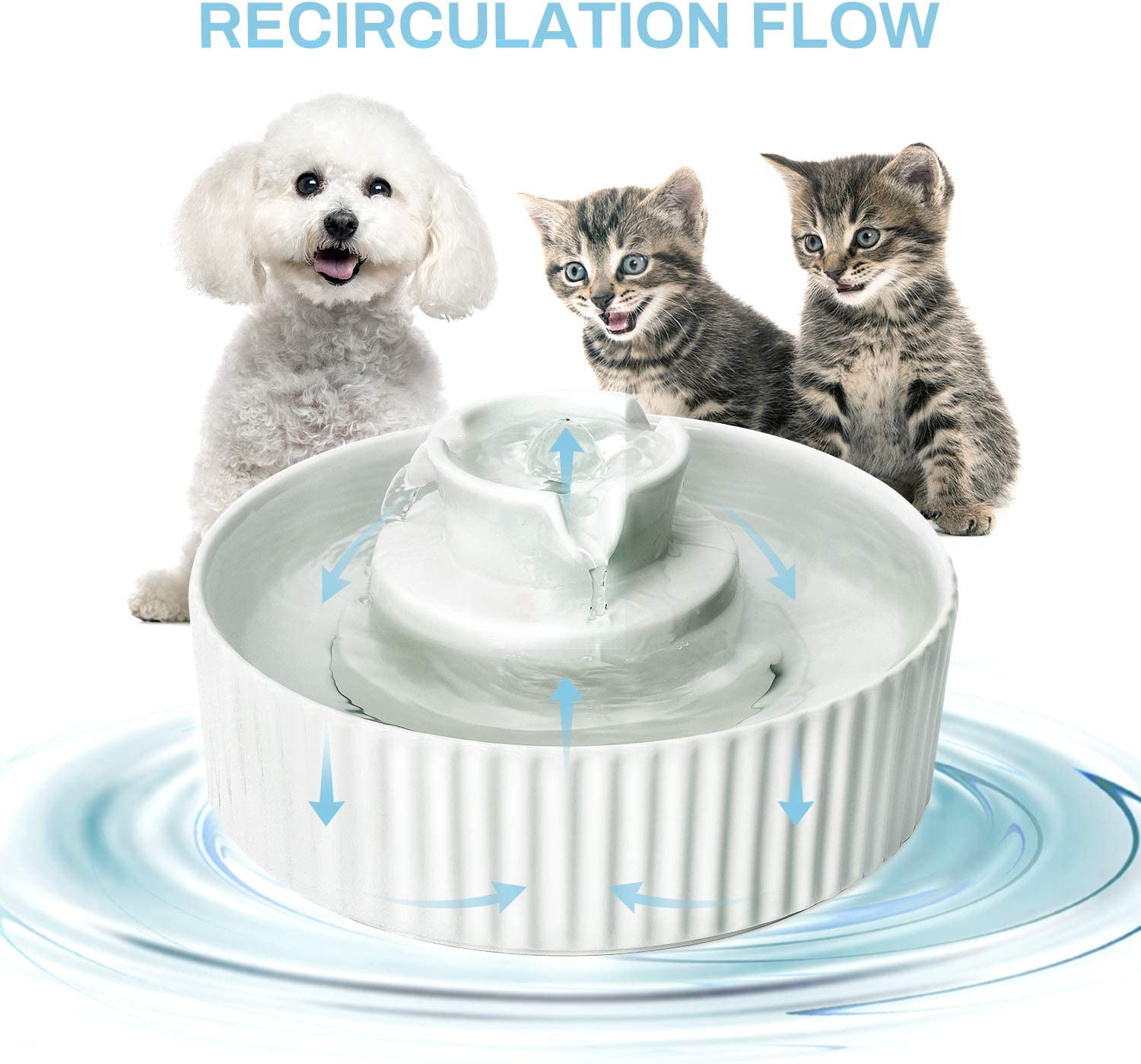 2.1L Cat Water Bowl Ceramic NautyPaws Cat Water Dispenser Ceramic Drinking Fountains Bowl for Cats and Dogs with Replacement Filters and Foam