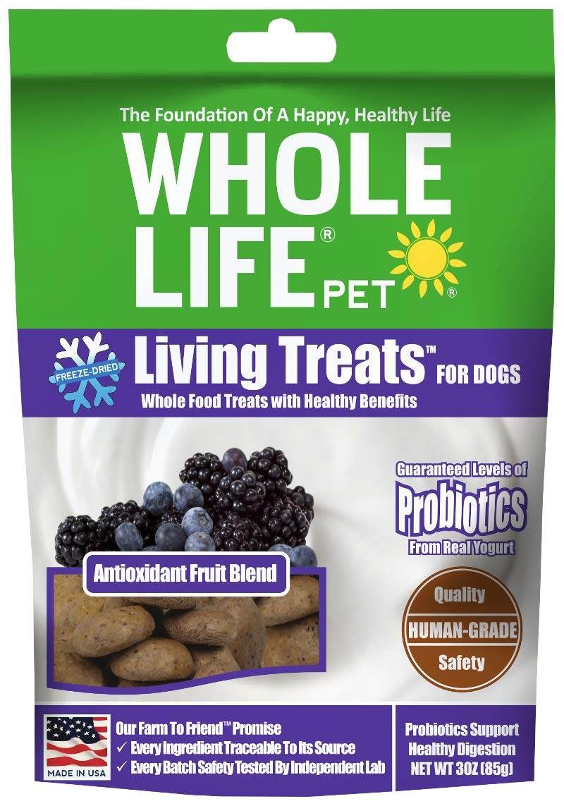 Whole Life Pet Antioxidant Dog Treats Fruit Blended with Probiotics to Promote Healthy Digestion, Protein from USDA Certified Chicken, 3 Ounce