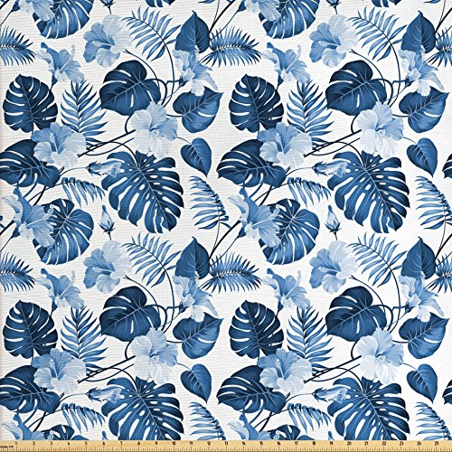 Victory Swag Valance - Ambesonne Hawaii Fabric by the Yard, Branch of Arecaceae Tree Polynesian Symbol of Triumph and Victory Spring, Decorative Fabric for Upholstery and Home Accents, Cobalt Blue Baby Blue