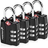 TSA Approved Luggage Locks, Fosmon (4 Pack) Open Alert Indicator 3 Digit Combination Padlock Codes with Alloy Body for Travel Bag, Suit Case, Lockers, Gym, Bike Locks or Other