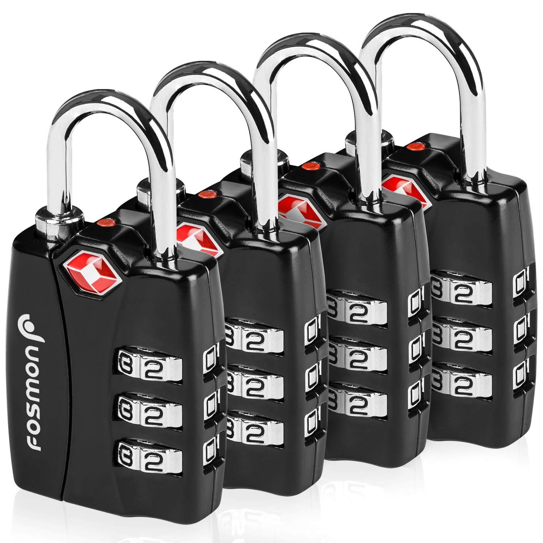 TSA Approved Luggage Locks, Fosmon Open Alert Indicator 3 Digit Combination Padlock Codes for Travel Bag, Suit Case, Lockers, Gym, Bike Locks or Other (4 Pack)