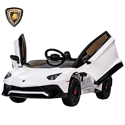 Uenjoy Lamborghini Aventador 12V Ride On Car Kids Cars Children\u0027s Electric  Car Motorized Vehicles w/Remote Control, LED Lights, Suspension, Music, USB