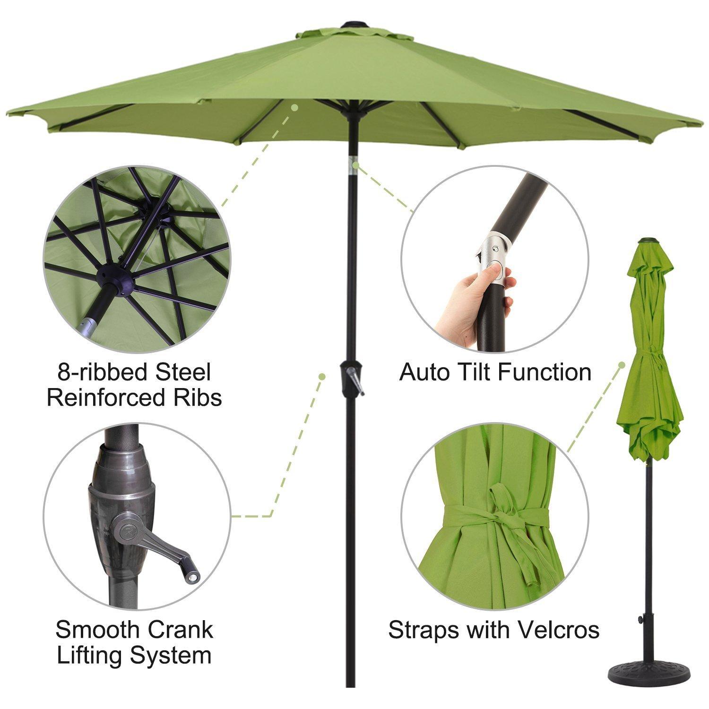 UV Protected Outdoor Umbrella Beige Grand Patio 7.5 Aluminum Market Patio Umbrella