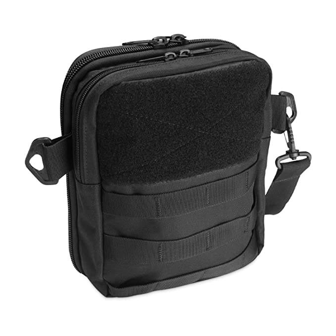 Tactical Gun Bag for Pistol, Multi-Purpose Handgun Case MOLLE Pouch Rip-Away EMT Medical First Aid Utility IFAK Pouch for Hunting, Shooting Range Sport and Other Outdoor Activities –Black