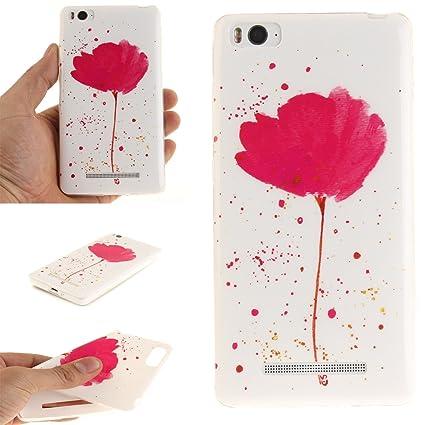Guran® Silicona Funda Carcasa para Xiaomi Mi 4C Smartphone Case Bumper Shock TPU Cover-amapola