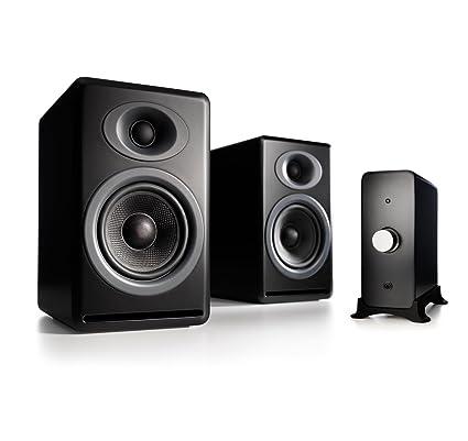 Audioengine P4 Passive Bookshelf Speakers And N22 Audio Amplifier Desktop Speaker System Black