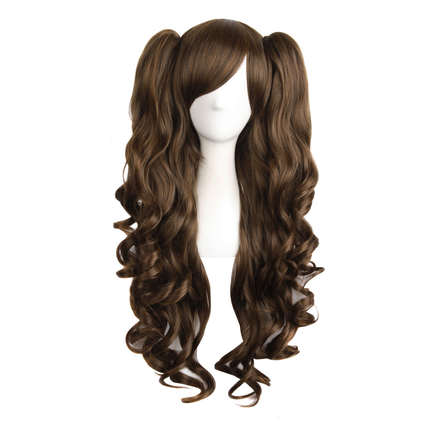 MapofBeauty Lolita Long Curly Clip on Ponytails Cosplay Wig (Light Blonde)