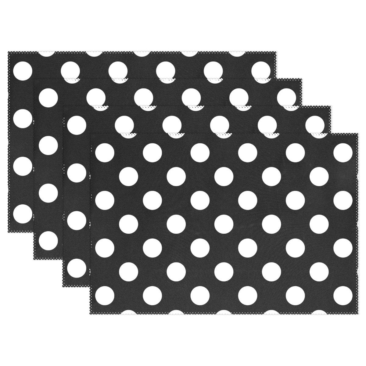 yochoiceヒップスターカラフルなスポットブラックホワイトドット柄円プレースマットプレートホルダーのセット1、スタイリッシュなポリエステルテーブルの配置マットプロテクターキッチンダイニングルーム12