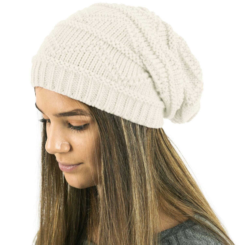 6d6352c2d30 TOSKATOK Ladies Knit Slouch Winter Hat Beanie - Cream at Amazon Women s  Clothing store