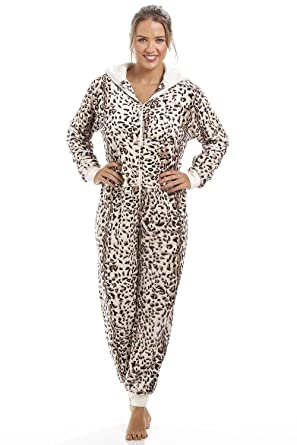 5ce9d2fb61 Camille Womens Ladies Supersoft Animal Print All In One Cat Leopard Onesie  10 12  Camille  Amazon.co.uk  Clothing