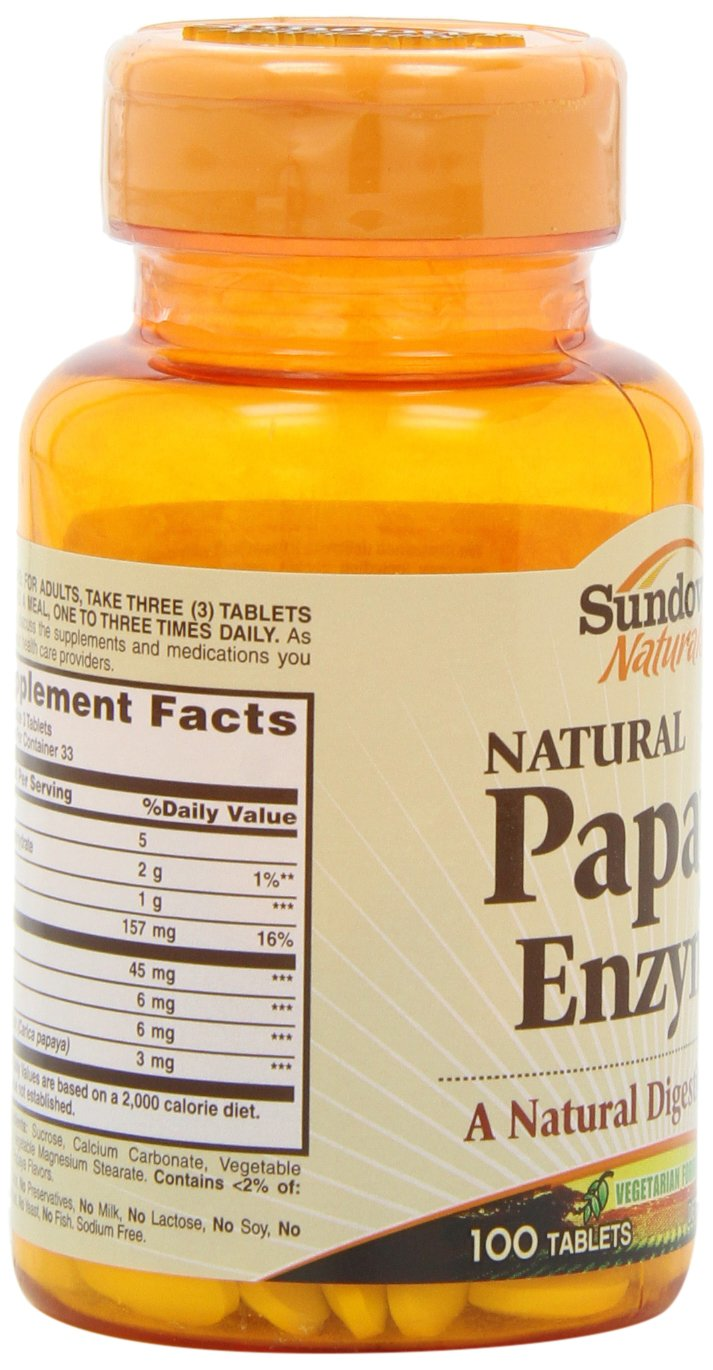 Sundown Naturals Papaya Enzyme, 100 Chewable Tablets (Pack of 6)