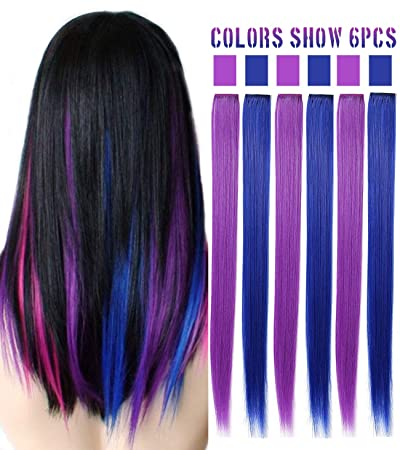 Amazon.com  Colored Hair Extensions Clip In On For Amercian girls and Dolls  Kids Costume Wig Pieces Party Highlights Straight 6 PCS (Purple Blue)   Beauty f5310aa8b