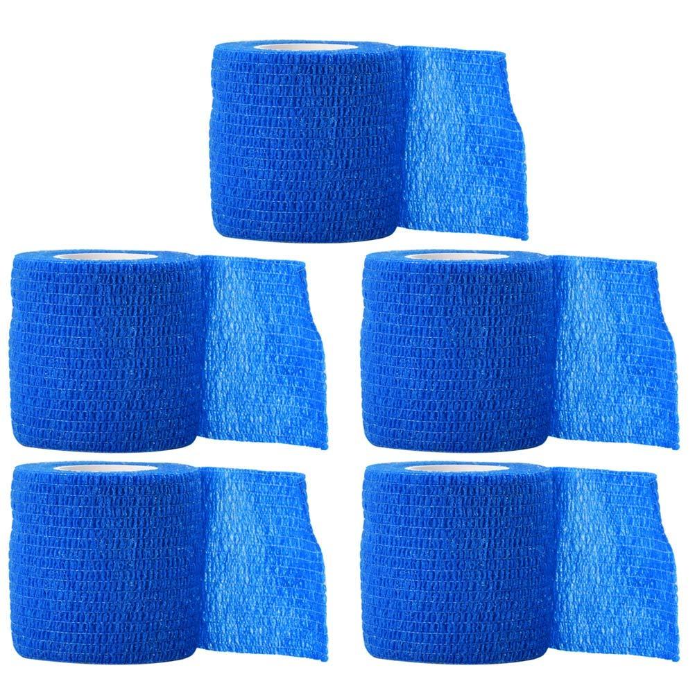 Healifty 5pcs 5x5cm Vendas Autoadhesivas Wrap Tape Stretch Athletic Cinta de Primeros Auxilios elá stica Fuerte (Azul)