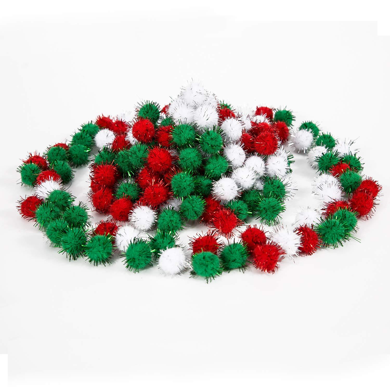 LUTER No/ël Pompons Pompoms Loisirs Creatifs Pom Poms D/écorations Artisanat DIY Fournitures pour Les Enfants Rouge Blanc Vert 20mm 100 Pi/èces