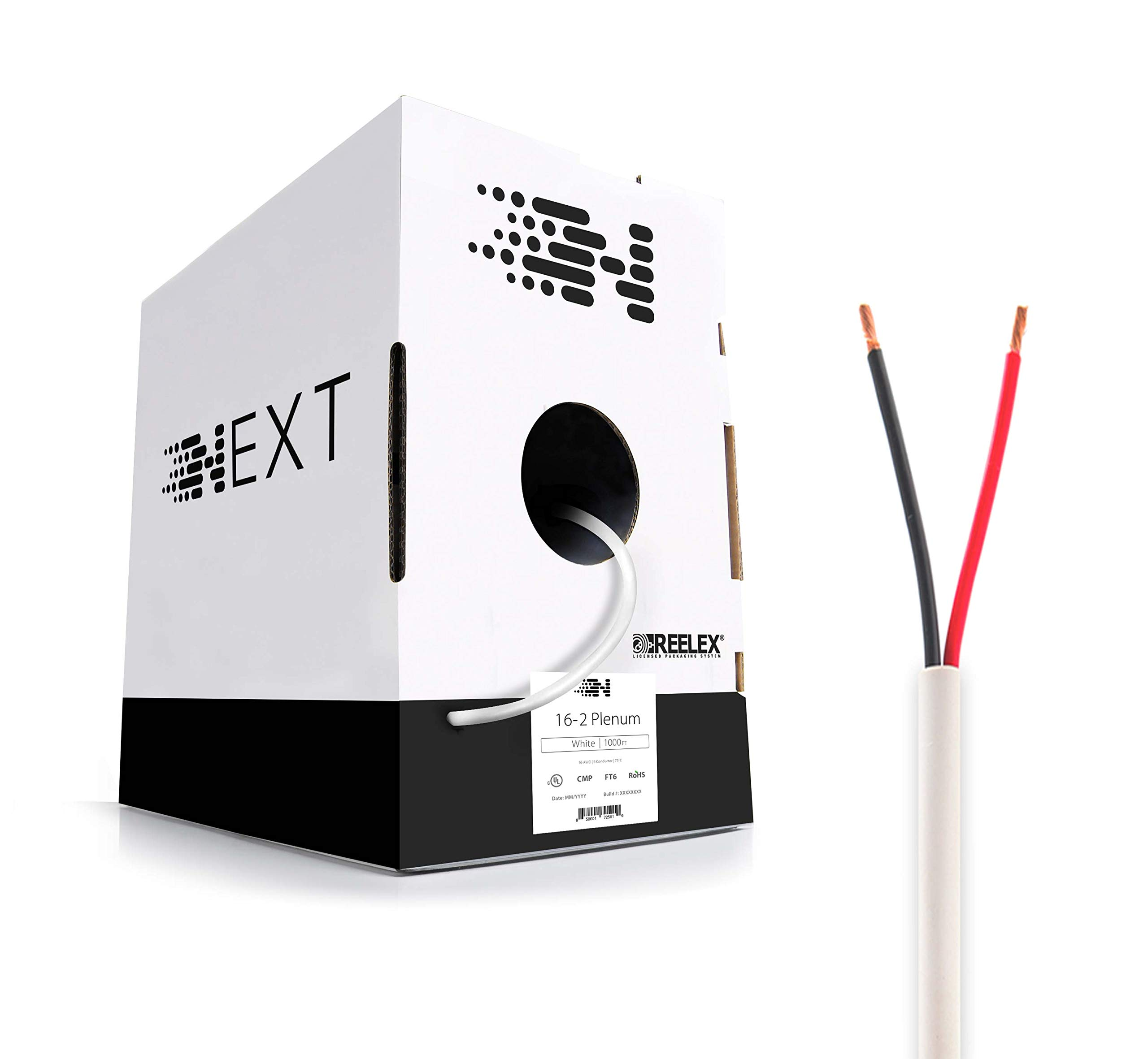 Next 16/2 Plenum Speaker Wire - 16 AWG/Gauge 2 Conductor - UL Listed in Wall (CL2P/CL3P/CMP) Rated - Oxygen-Free Copper (OFC) - 1000 Foot Bulk Cable Pull Box - White by Next