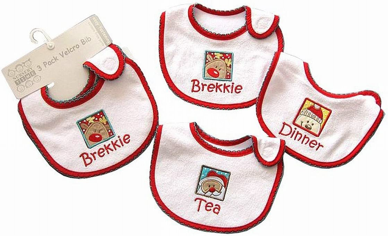 Pack de 3 – Baberos, diseño de regalo de Navidad Papá Noel Muñeco de nieve Reno: Amazon.es: Bebé