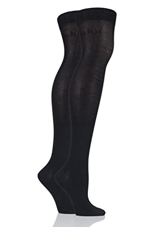 73b80d8d66a Elle Plain Bamboo Over The Knee Socks - 4-8 Ladies - Black  Amazon.co.uk   Clothing