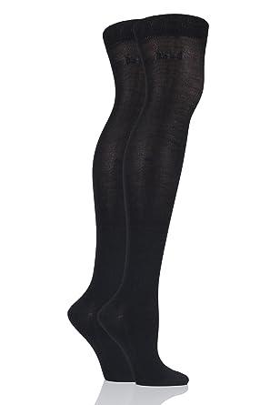 7c0edaa8a18 Elle Plain Bamboo Over The Knee Socks - 4-8 Ladies - Black  Amazon ...