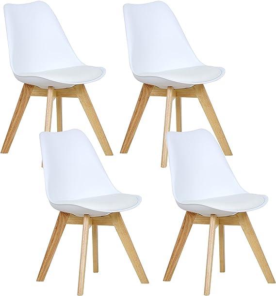 WOLTU® 4er Set Esszimmerstühle Küchenstuhl Design Stuhl Esszimmerstuhl Kunstleder Holz Weiß BH29ws 4