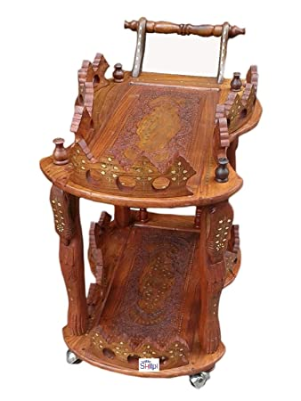 Shilpi Handcarved Antique Style Wooden Service/ Bar Trolley