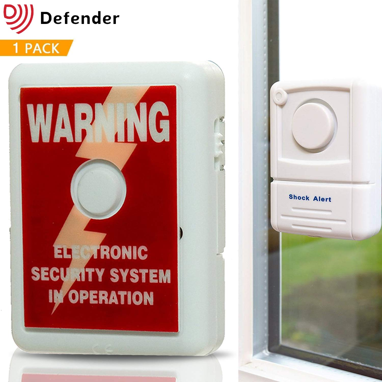 Alarma para ventana Defender con pegativa para disuadir robos, tecnologí a de sensor de choque 110 dbs para detectar entrada forzada y roturas de cristal Solon Security