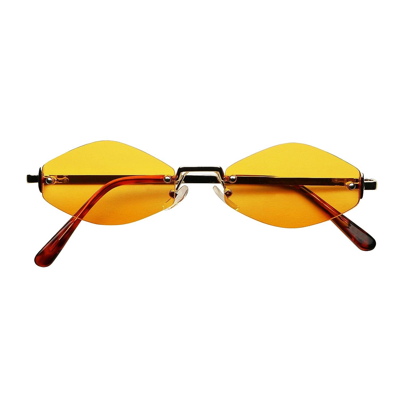 9e6d9b9b423 Amazon.com  ShadyVEU - Slim Narrow Diamond Shape Rimless Metal Gold Colorful  Tint Skinny Sunglasses (Gold Frame