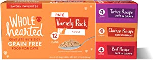 WholeHearted Grain Free Pate Savory Favorites Adult Wet Cat Food Variety Pack, 2.8 oz., Count of 12, 12 CT