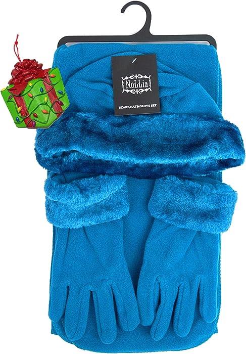 55e5b2adaa7 Turquoise Blue Womens Fleece Winter Outerwear Accessory Set - Scarf ...
