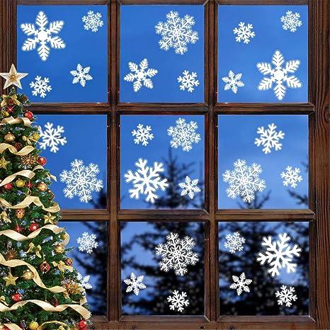 White Christmas Snowflake Window Clings Sticker Good Winter Wall  Xmas Decor
