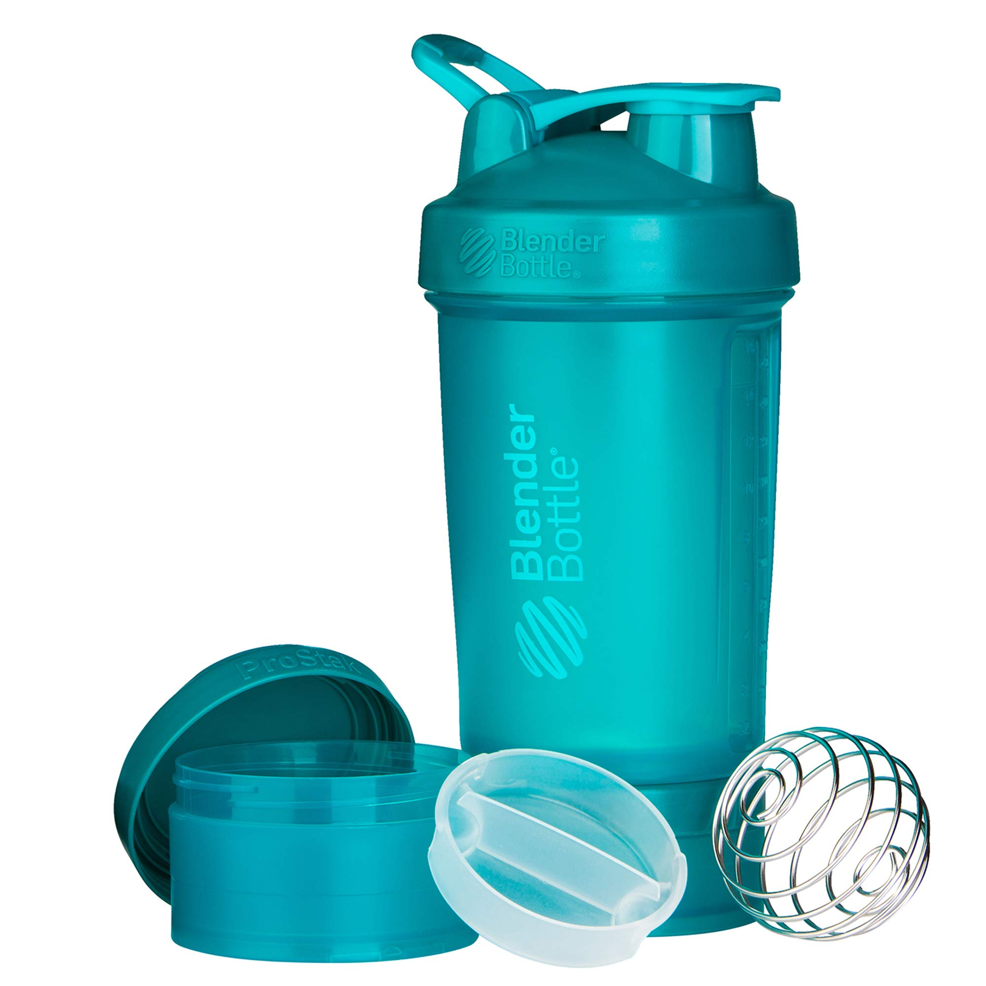 BlenderBottle Shaker Bottle with Pill Organizer and Storage for Protein Powder, ProStak System, 22-Ounce, Teal
