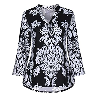 6b9c5dbd49 Inverlee Womens Floral Printed Tunic Shirts Blouse 3 4 Roll Sleeve V-Neck  Top at Amazon Women s Clothing store