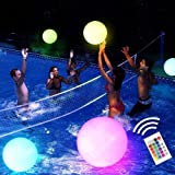 """Pool Toy 16"""" LED Glow Beach Ball Toy with 16 Color Changing Lights, Glow in Dark Pool Games Toys for Teens Adults, Great…"""