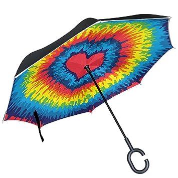 Espiral de remolino de ALAZA, Tie Dye corazón arcoiris Love auxiliar paraguas paraguas plegable de