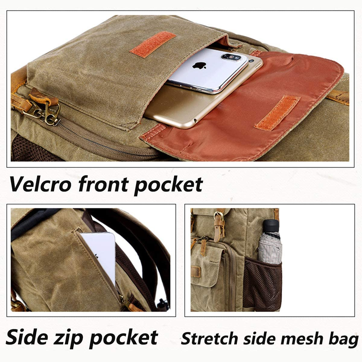Side Quick Access Antitheft Waterproof Camera Bag for Photographersmirrorless Tripod Accessoriesr Khaki OLDFAI DSLR Camera Backpack Bag with Laptop Compartment 15 Mirrorless Camera