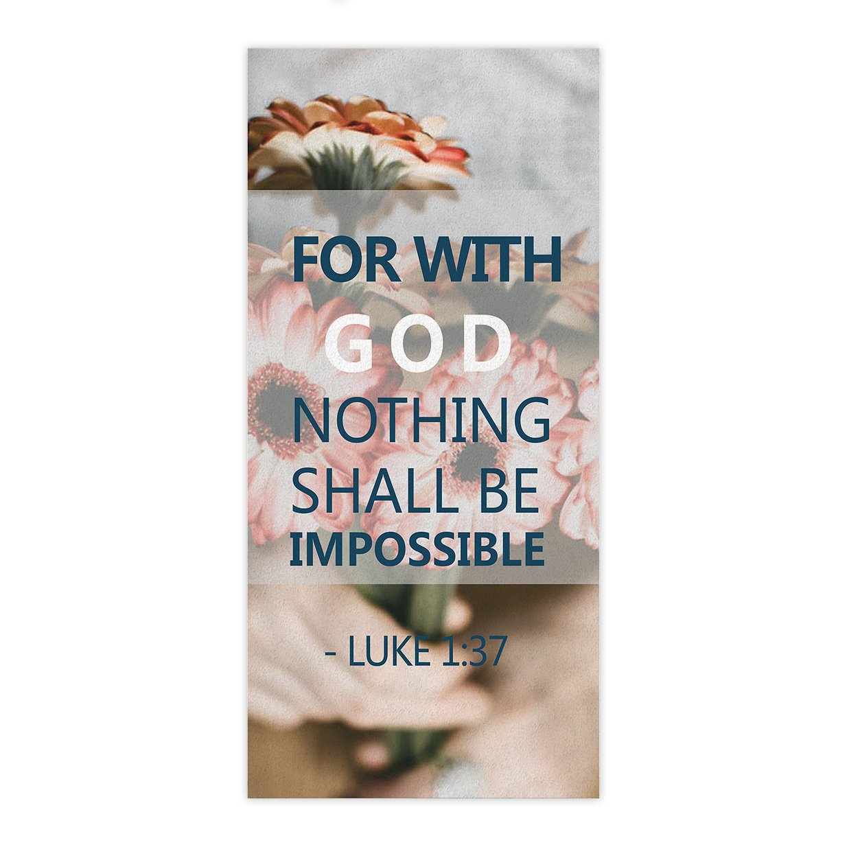 Floral Decor Beach Towel Quick Dry Christian Bible Verse Scripture Quotes Shower Towels Ultra Soft Cotton Material for Bathroom, Hotel and Spa Quality, 27.5 x 55 inch