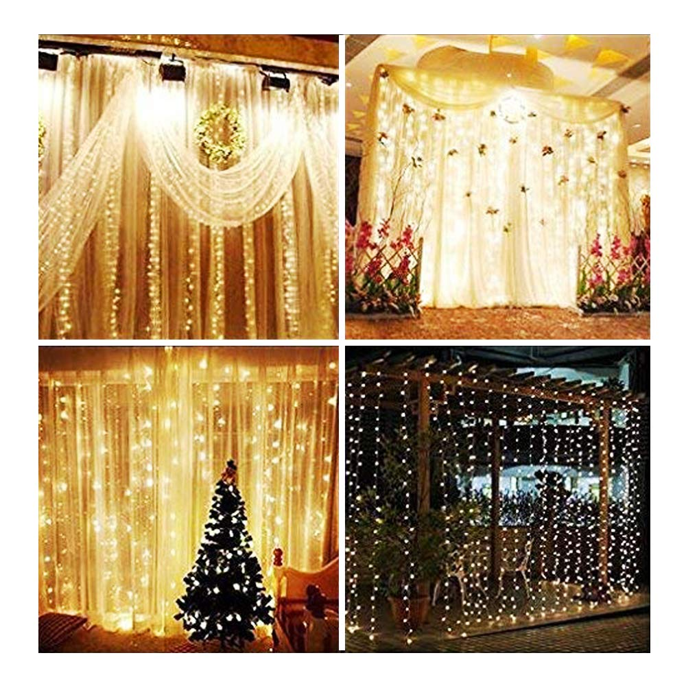 KNONEW LED Window Curtain Icicle Lights, 306 LEDs, 9.8ft x 9.8ft, 8 Modes, String Fairy Light, LED String Light for Wedding Party/Christmas/Halloween/Party Backdrops (Warm White) by KNONEW (Image #2)