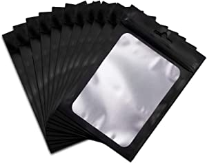 Resealable Mylar Ziplock Bags Black Food Storage Bags with Clear Window 140 Pack (Black, 4 x 6 Inch)