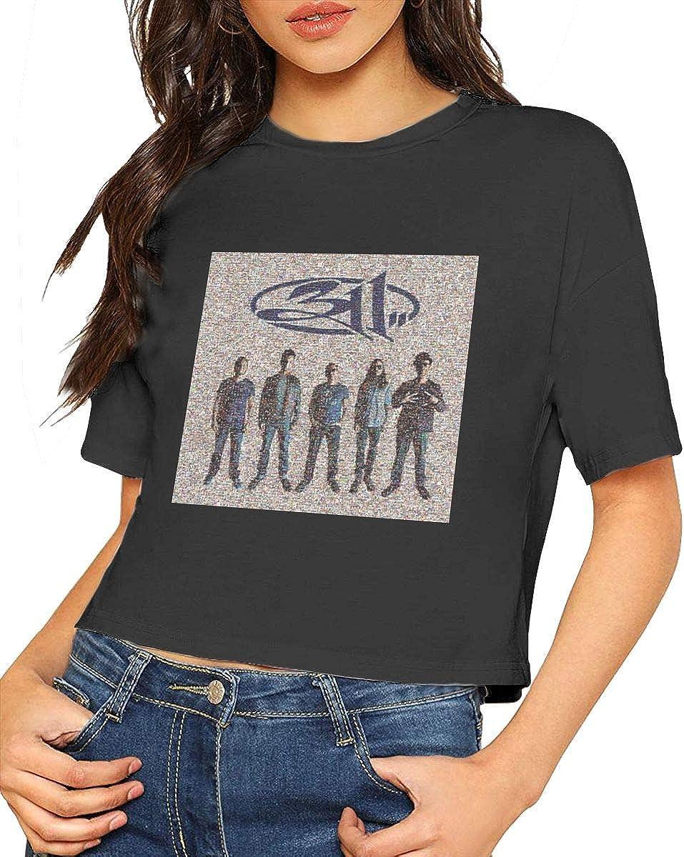 VIIHAHN Womens Logo 311 Mosaic Simple Short Sleeve Leak Navel Crew Neck T Shirts