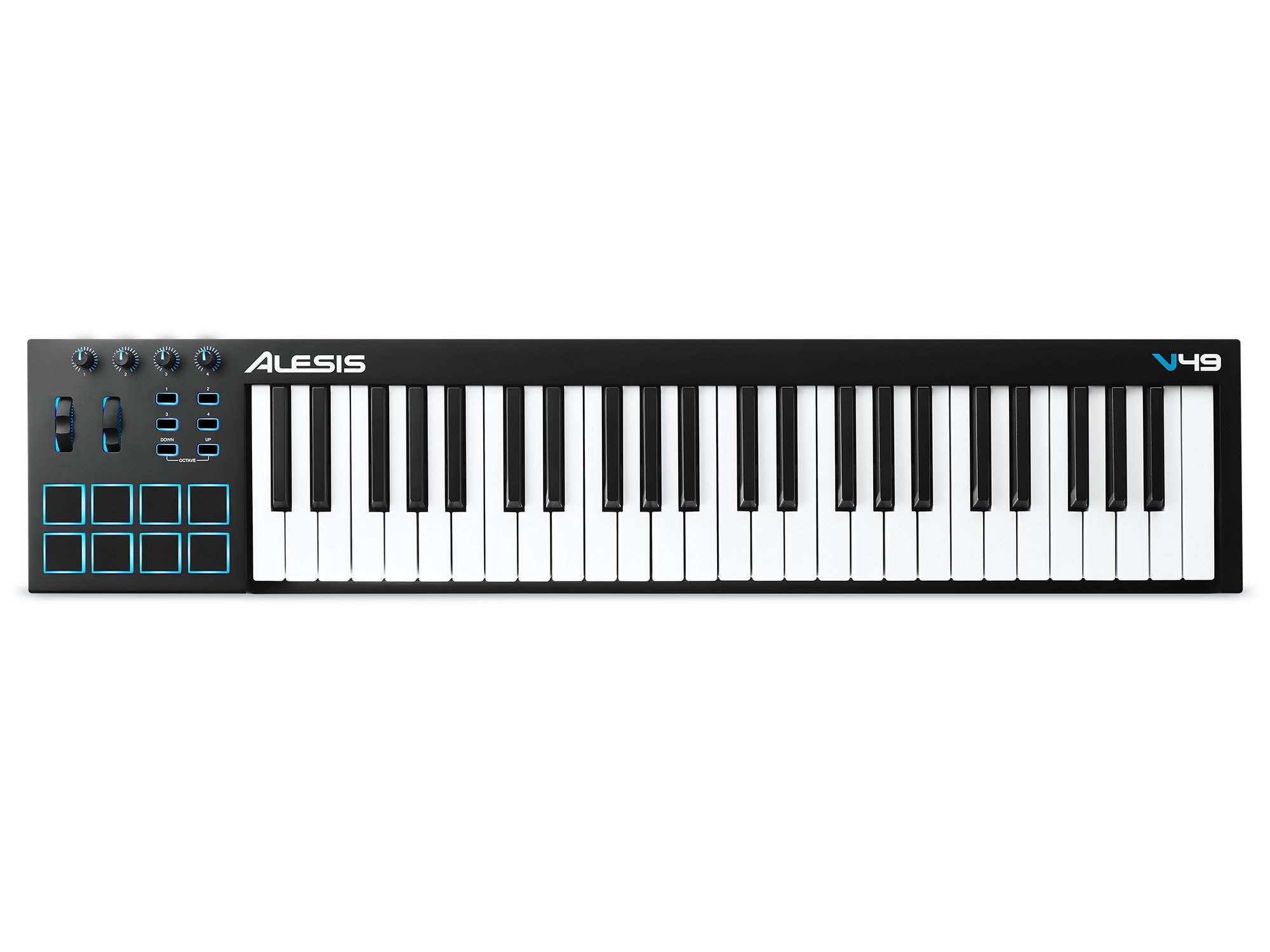 Alesis V49 | 49-Key USB MIDI Keyboard & Drum Pad Controller (8 Pads / 4 Knobs / 4 Buttons)