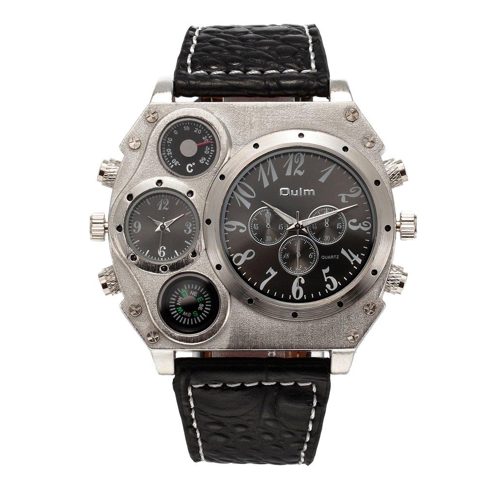 Vanpower Men Luxury Brand Wrist Double Quarts Sport for Oulm Watch (Black)