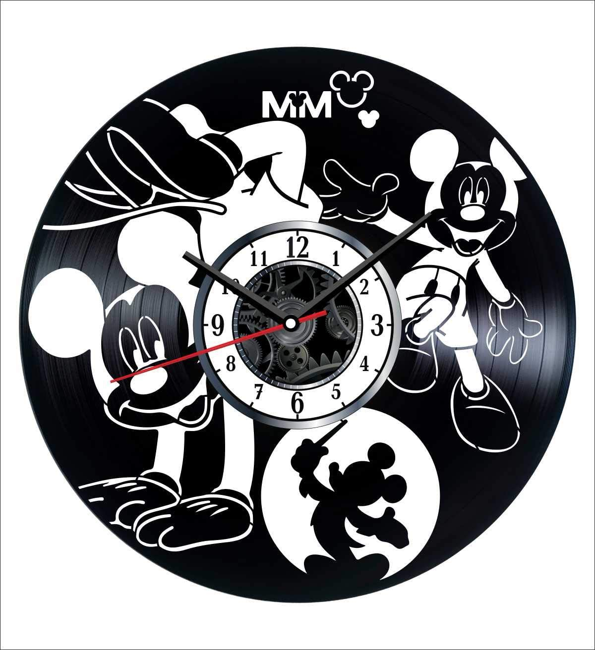 Mickey Mouse Wall Clock Vintage Record - Get Unique Home and Office Decor Bedroom Kitchen Kids Living Room - Gifts for Men Women Kids Father Mother - Modern Wall Art Design - Free Personalization