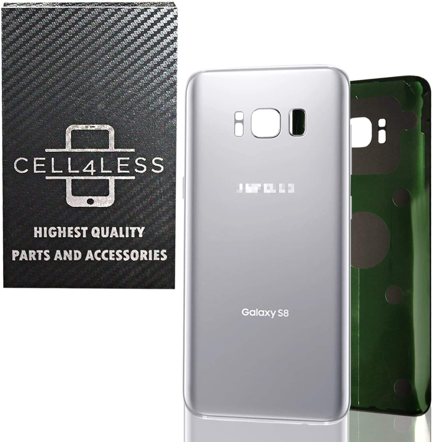 CELL4LESS Compatible Back Glass Cover Back Battery Door w/Pre-Installed Adhesive Replacement for Samsung Galaxy S8 OEM - All Models G950 All Carriers- 2 Logo - OEM Replacement (Arctic Silver)