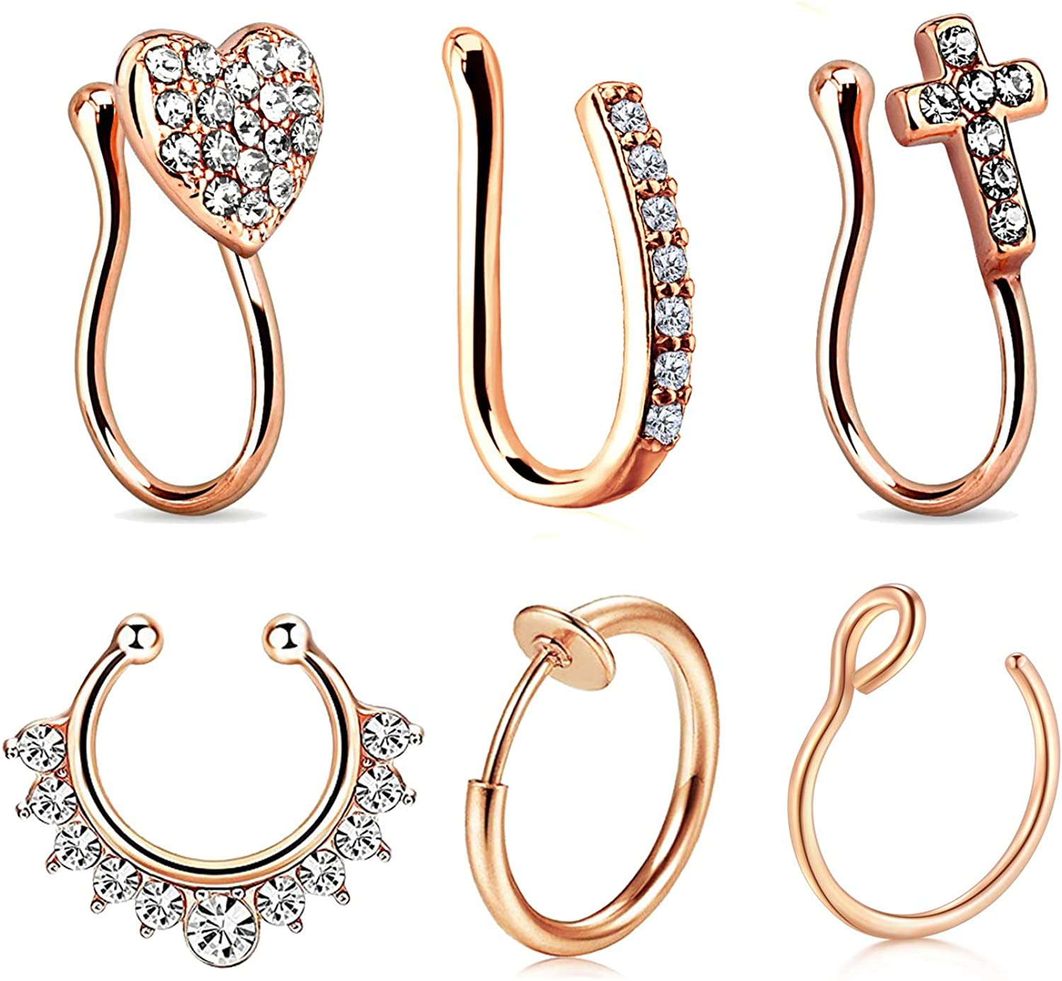 Jforyou 6pcs Nose Rings Fake 16g Stainless Steel Inlaid Cz Faux