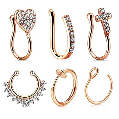 Amazon.com: JFORYOU - 6 piercings falsos para la nariz, 0.56 ...